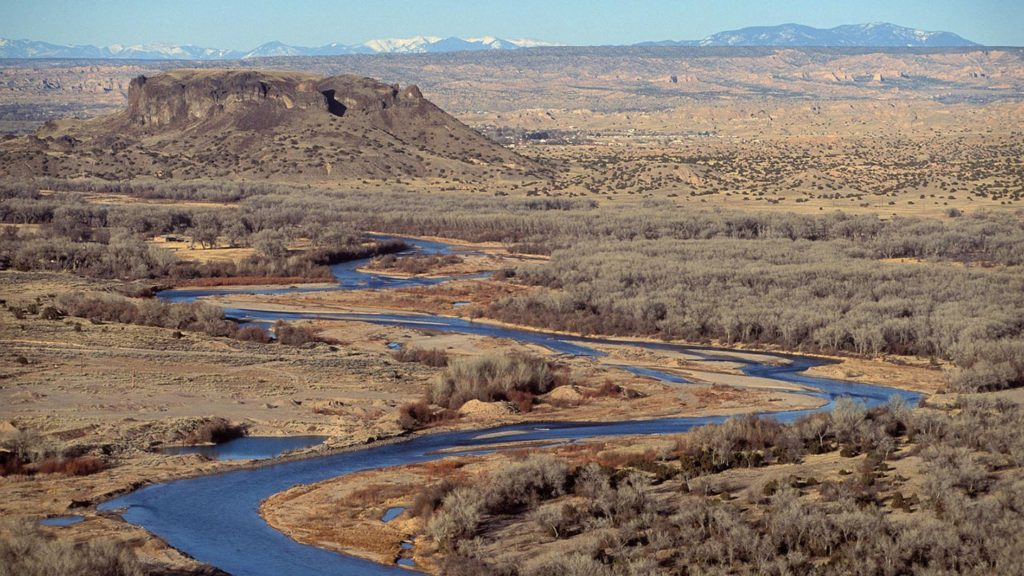 Espanola Valley, New Mexico - Black Mesa and the Rio Grande river, Espanola Valley, New Mexico